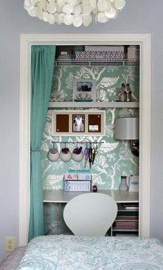 """Office closet- I want to do this in the boys room, they don't use the closet for anything but throwing everything on the floor into, when they """"clean"""" their room"""