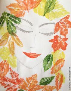 Вдохновением для этого проекта послужила школьная выставка детских рисунков на осеннюю тему. Мне, как человеку увлекающемуся, захотелось нарисовать свою осеннюю фантазию. Так появилась Девушка Осень, нарисованная с помощью отпечатков листьев. Материалы: лист акварельной бумаги; гуашь, кисточка, карандаш; вода и влажные салфетки, чтобы вытирать руки в процессе работы; листья деревьев или кустарников.