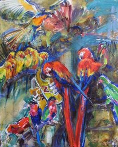 Violetta Monsevich Parrots in the city 100x80 2016