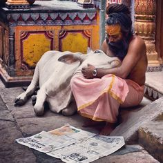 Sadhu (holy man) with sacred cow in Varanasi. Varanasi or Benares, as the locals call it is India's oldest, and possibly holiest, city. Anyone who has ever visited Varanasi will find both cows and holy men in every lane of the city. Beautiful Creatures, Animals Beautiful, Cute Animals, Namaste, Amazing India, Varanasi, People Around The World, Belle Photo, Beautiful World