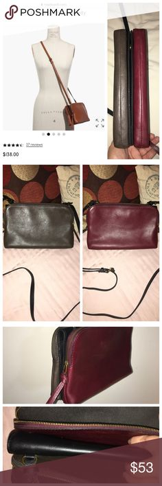 """Madewell The Twin-Pouch Crossbody Gorgeous Cabernet/Dark Olive/Black. Zip compartments fit an e-reader or a wallet. So much organization & storage—it has two slide-in center pockets (perfect for that subway pass or need-it-at-your-fingertips lip gloss), & the flipside unsnaps to reveal a built-in mirror (and, yes, another pocket). Plus, the shoulder strap is removable so you can carry it or clutch it.  Interior zip pocket w/mirror. 21 3/4"""" shoulder strap. 5 & 1/8""""H x 8 & 7/8""""W x 2 & 3/8""""D…"""