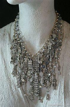 the vintage rhinestone jewelry pieces on this necklace! -kay adams by KathyDragon - kay adams - wow! the vintage rhinestone jewelry pieces on this necklace! -kay adams by KathyDragon - Vintage Jewelry Crafts, Recycled Jewelry, Jewelry Art, Antique Jewelry, Fine Jewelry, Jewelry Necklaces, Handmade Jewelry, Fashion Jewelry, Women Jewelry