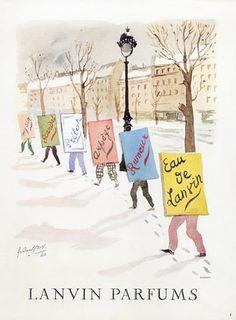 Parfums Lanvin - 1952 pour Arpège, Eau De Lanvin, My Sin, Scandal, Pretexte, Rumeur, Illustration de Guillaume Gillet