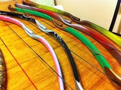 Center shot recurve bows, made from PVC.