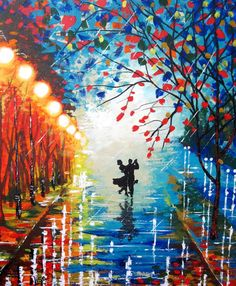 Original Abstract Painting Let it rain by ArtonlineGallery