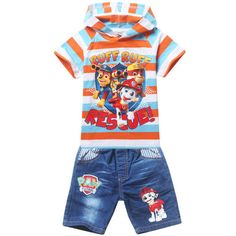 Paw-Patrol-Clothing-Kids-Boys-Outfits-Sets-Striped-Hooded-T-shirts-Jeans-Shorts