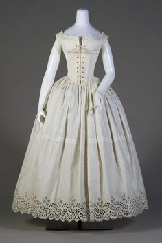 1840s Lingerie Set, Petticoat and Chemise Corset. Seems they put the corset on backwards.