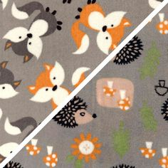 Double Sided Cuddle Fleece - Foxes & Hedgehogs On Grey Reversible