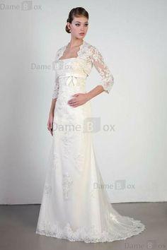 Tüll Spitze trägerlos Brautkleid mit Schleife mit Empire Taille - Damebox.com