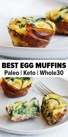 Egg muffins are a healthy, simple and tasty way to enjoy breakfast. They're also extremely versatile in terms of ingredients. This breakfast egg muffin recipe is loaded with zucchini and wrapped in prosciutto. It's paleo, keto, low carb and muffins Whole 30 Breakfast, Healthy Breakfast Recipes, Paleo Recipes, Healthy Snacks, Breakfast Ideas, Breakfast Gravy, Breakfast Cereal, Protein Recipes, Diet Breakfast