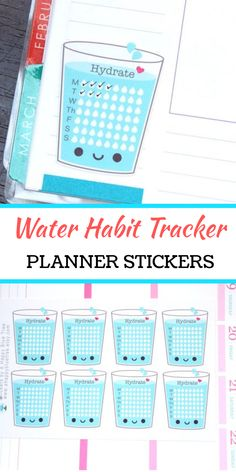 Happy Water Glass Weekly Hydrate Tracker Reminder Stickers. This sticker set features a sheet of happy water cup themed full box hydrate tracker reminder stickers. Use them to keep track of your water intake for the entire week. They are kiss cut on matte paper; an easy sticker template for tracking healthy water habits! Erin Condren Life Planner Mambi Horizontal Vertical ECLP Kawaii Cute Funny #ad #habittracker #stickers #bulletjournals #templates #plannerstickers #eclifeplanner