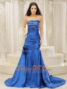 Mermaid Royal Blue and Court Train For Prom Dress Beaded Decoreta Bust Hand Made Flowers  http://www.fashionos.com  This fabulous royal blue prom dress will let you experience the feeling of being the spotlight in anywhere.The strapless,ruched bodice with scattered beadings makes the dress so elegant and can also defines your curve.The skirt of the gown falls in luxurious puddles of taffeta at your feet, draping your legs in an elegant fashion.The  zipper up back completes this gorgeous…
