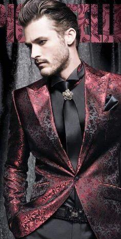 Amazing burgundy red, jacquard steampunk jacket. #goth #jacket #men's #fashion #steampunk