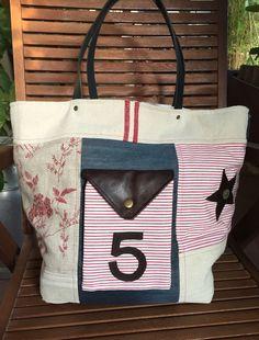 Cabas, sac rouge, toile cuir et lin : Sacs à main par realisa