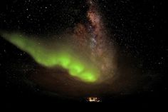 The ethereal green glow of Aurora Australis shone high over Concordia station on the Antarctic plateau on July 18, 2012. It's an ideal place to study not just the heavens, but the effects on small, multicultural teams of long-term isolation in an extreme, hostile environment.