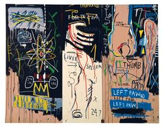 Jean-Michel Basquiat Catharsis 1983 triptych, acrylic on canvas, 72-3/8 x 92-7/8…