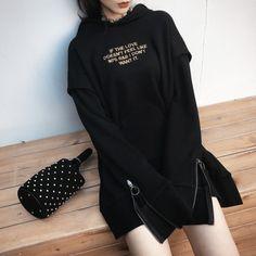 [Darker than Black] Black Embroidery Plus Velvet Hooded Long Sweater SD01075