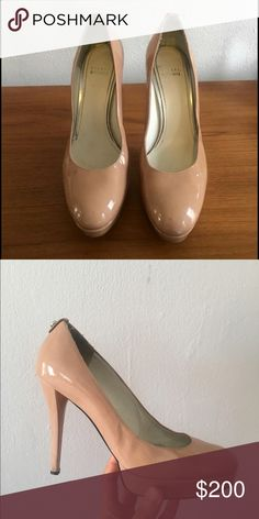 Stuart Weitzman nude pumps size 9 Stuart Weitzman pumps size 9 for sell. Bought them for 500$ in 2013. These are the perfect elegant pair of nude pumps, and are very comfortable due to the small platform. I have used them with a sole inside because they were a tad bit too big for me. Great, classic, timeless shoe! Stuart Weitzman Shoes Heels