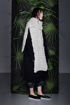Anna Dudzińska, CONCRETE GREEN, aw2015, sweater HARASA, scarf ROI. To download high or low resolution product images view Mondrianista.com (editorial use only).