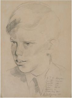 """Gilbert Spencer: """"Portrait of RJA, Signed and extensively x 7 in;): Exhibited:New Grafton Gallery, (date unknown). This pencil portrait is one of a series that Gilbert Spencer drew of portraits of boys from St Anselms School, Derbyshire. Pencil Portrait, Art Studies, The Twenties, Modern Art, British, Gallery, British People, Contemporary Art, Mid Century Modern"""