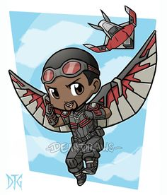 Commission - Falcon and Redwing chibies Avengers Cartoon, Marvel Cartoons, Baby Avengers, Avengers Characters, Avengers Art, Chibi Characters, Marvel Art, Marvel Heroes, Marvel Drawings