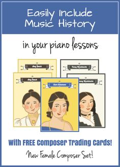 An easy way to be sure Music History is a part of your Print them and put them into trading card page protectors and your students will love building a collection! Beginner Piano Lessons, Music Lessons, Violin Lessons, Education For All, Music Education, Piano Teaching, Learning Piano, Learning Tools, Music Activities