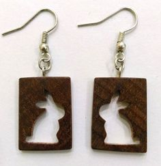 Hand-carved Bunny earrings