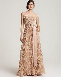 Todashi Shoji Strapless Rosette gown