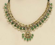 INDIAN EMERALD, SIMULATED DIAMOND, SEED PEARL AND GOLD JEWELRY