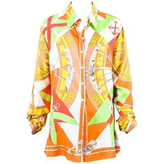 Preowned Vintage Hermes Orange Green Compass Print Silk Button Up... ($350) ❤ liked on Polyvore featuring tops, blouses, orange, vintage print blouse, orange blouse, orange silk blouse, vintage silk blouse and print blouse