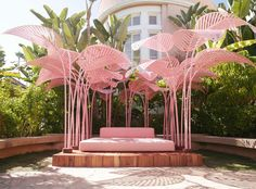 """A great place to stay and lounge by the pool in Beverly Hills. The Pink Palace—best known as the Beverly Hills Hotel, just is even more in the pink thanks to the exhibition of """"Le Refuge,"""" an iconic, pink-palm treed piece by Parisian artist Marc Ange. Hotel California, Pretty In Pink, Citrus Garden, Beverly Hills Hotel, Beverly Hills Los Angeles, Milan Design, Urban Furniture, Hotel S, Land Art"""