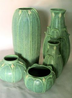 Grueby Pottery ~ beautiful examples of Jemerick Art Pottery (BB) Antique Pottery, Roseville Pottery, Mccoy Pottery, Pottery Vase, Handmade Pottery, Ceramic Pottery, Ceramic Art, Thrown Pottery, Slab Pottery
