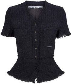 Harrods, designer clothing, luxury gifts and fashion accessories : Alexander Wang Short-Sleeved Tweed Jacket Kpop Outfits, Celebrity Outfits, Fashion Outfits, Cos Dresses, Coats For Women, Jackets For Women, Tweed Jacket, Capsule Wardrobe, Pretty Outfits