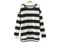 Black Cross Stripe Loose Knit T-Shirt
