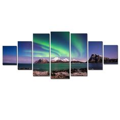 Startonight Huge Canvas Wall Art Northern Lights, Aurora Borealis, USA Large Home Decor, Dual View Surprise Artwork Modern Framed Wall Art Set of 7 Panels Total x inch
