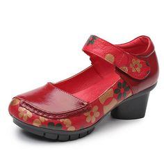 bcafbfa59ec8 SOCOFY Printing Hook Loop Mid Heel Retro Casual Shoes is well-designed.  NewChic offers a wide range of cheap pumps shoes for women