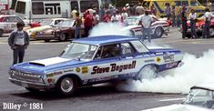 photos of steve bagwell drag cars | Steve Bagwell's big Mopar Super Stock smokes the tires in 1981. Photo ...