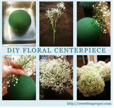 Easy DIY Flower Arrangements – Part 2 | Baby's Breath Centerpiece | Mercury Votives | White and Ivory Wedding