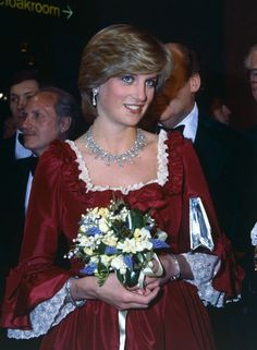 """March 4, 1982: Princess Diana attends a Royal Gala performance of """"The Night of Knights"""" at the Barbican Centre in aid of the Order of St John & the Prince's Trust after the Queen opened it. The performance featured a host of stars who helped raise funds for a Trust founded by the Prince of Wales to aid underprivileged young people."""