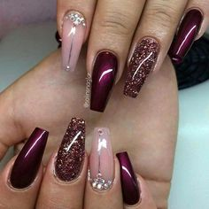 Pink & Bordeaux nail design