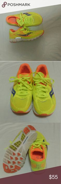 Bright yellow Saucony running shoes Barely worn, EUC, only worn outside of the gym 1 time. Yellow with orange and purple details Kinvara 5: *A newer and more flexible lightweight mesh material than previous Kinvara models *Enhanced EVA material with better abrasion resistance *iBR+ (Injection Blown Rubber Plus) for more durability, cushioning and less weight *RunDry in the inner lining moisture wicks for greater guard against chafing *PRO-LOCK technology for added flexibility and stability…