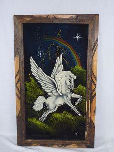 Vintage Mid Century Pegasus Winged Horse Rainbow Black Velvet Painting