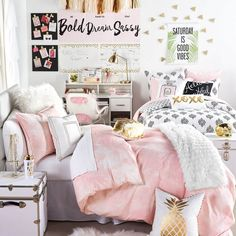 Pink Marble Duvet Cover and Sham Set // shop this look on dormify.com