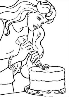 Barbie decorating a cake Coloring page