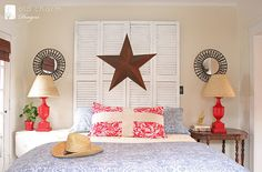shutter head board ... thinking about something like this with some old bifold doors ....