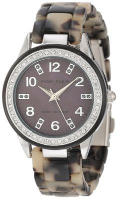 Anne Klein Women's 10/9957GMTO Swarovski Crystal Accented Black Resin Tortoise Bracelet Watch : Disclosure: Affiliate link