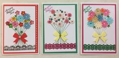 Mother's Day greeting cards, bunches of flowers, stitched stems
