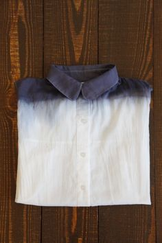 "Dip dyeing - you can dip dye a white shirt with blue dye...the pretty part that makes the ombre is called wicking, where the colour ""creeps up"" the garment part you are dyeing...also think about dip dyeing a pale plaid with one of the colours in the plaid...also a very cool effect"