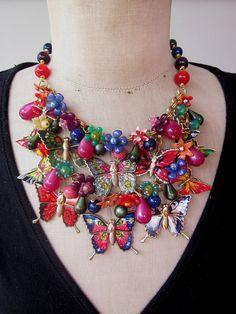 Vintage Necklace Charm Necklace Butterfly Necklace by rebecca3030