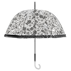 Becko Stick Umbrella  Flower and Heart Pattern Clear Canopy Bubble Umbrella  Transparent Dome Shape Princess Style Rain Umbrella with Gradient Jhandle for Wedding  Party  Camping Black *** Visit the image link more details. Note:It is Affiliate Link to Amazon.